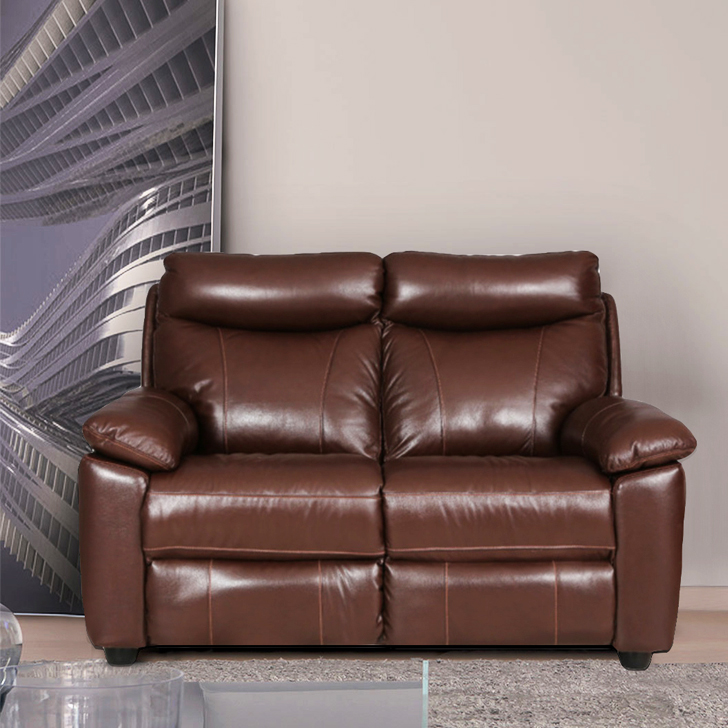 Lancaster Half Leather Two Seater Sofa in Dark Brown Color by HomeTown