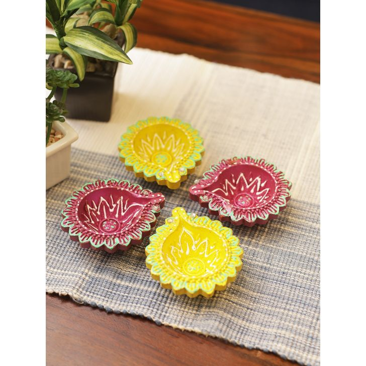 Nysa Clay Round Diya Set of 4 in Multi color Colour