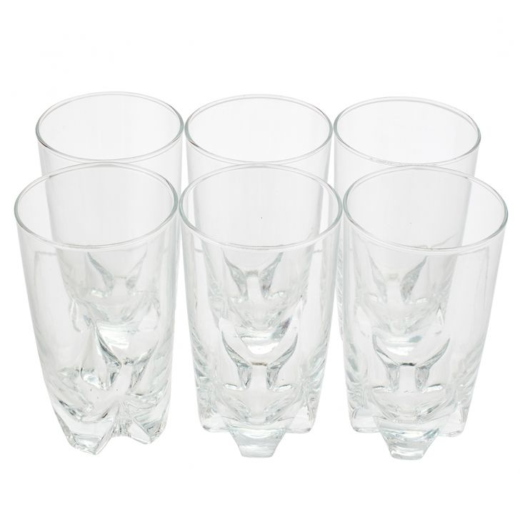 Prism Long Drink Glass Set Of 6 Pcs Glass Glasses & Tumblers in Transparent Colour by Sanjeev Kapoor