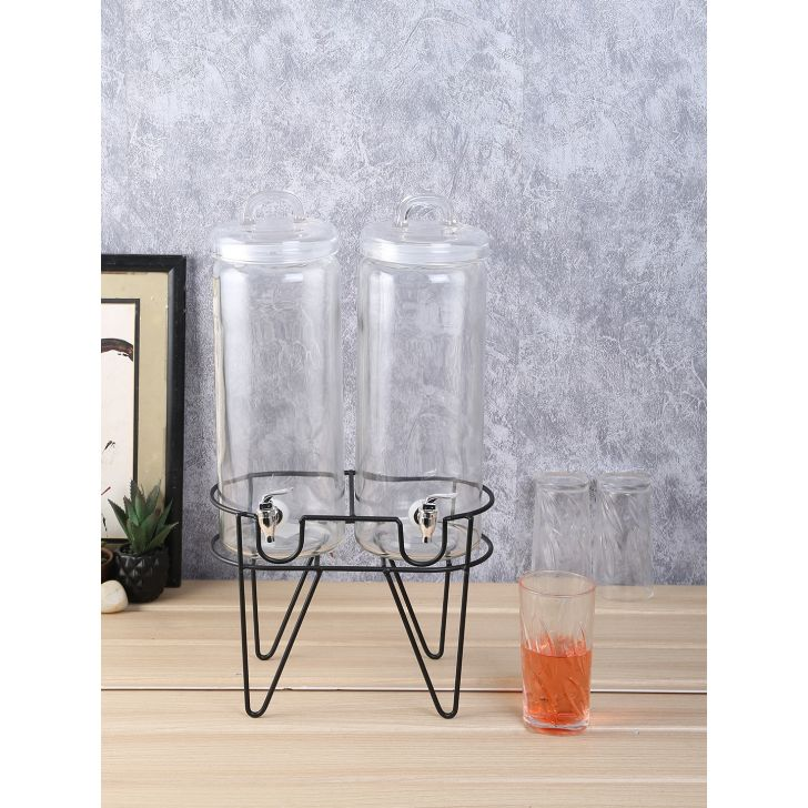 Double Glass Dispenser 2.4 Ltr Set of 2 in Transparent Colour by Living Essence
