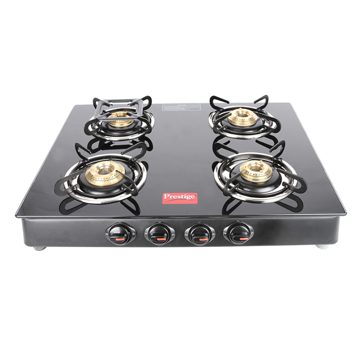 Prestige 4 Burner Glass Top Gas Stove Stainless steel Cooktops in Black Colour by Prestige