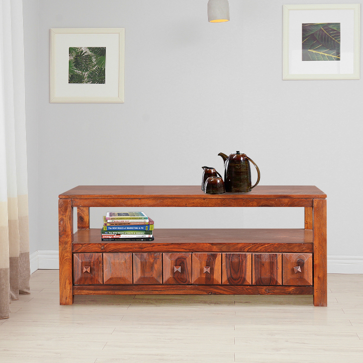 Woodrow Solid Wood Center Table in Honey Colour by HomeTown
