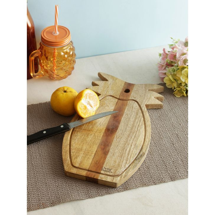 Pineapple Wooden Chopping Board in Brown Colour by Living Essence