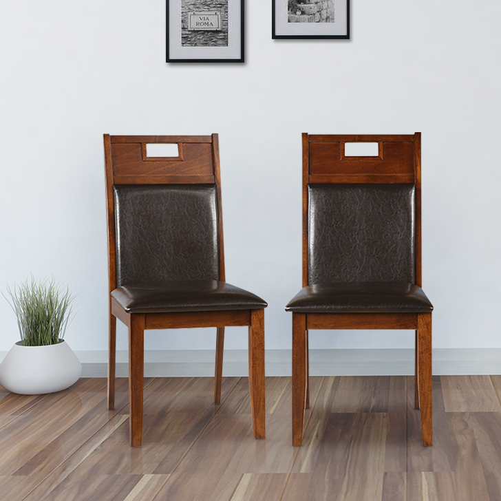 Wesco Solid Wood Dining Chair in Oak & Espresso Colour by HomeTown