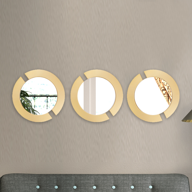 Mirage Circle Cut Set Of Three Gold Mirror Wall Accents in Gold Colour by Living Essence