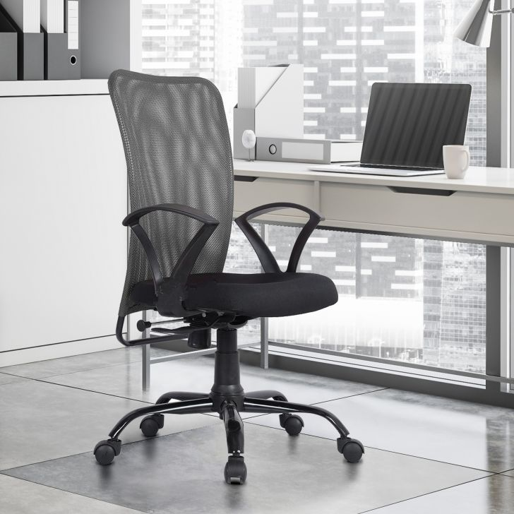 Sigma Mesh Medium Back Chair in Grey Colour by HomeTown
