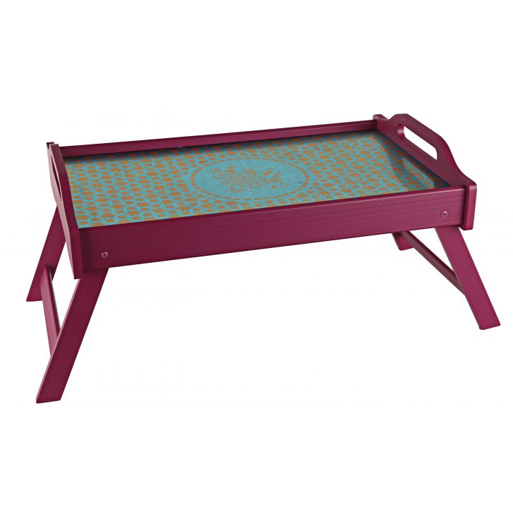 LE Elephant & Horses Break Fast Tray Timber Wood Trays in Teal And Pink Colour by Living Essence