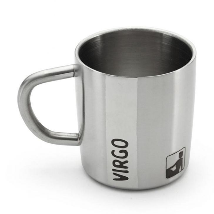 Hot Muggs Virgo Starsign Steel Walled Mug 200 Stainless steel Coffee Mugs in Silver Colour by HotMuggs