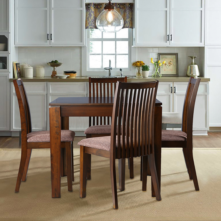 Metro Solid Wood Four Seater Dining Set in Esspresso Color by HomeTown