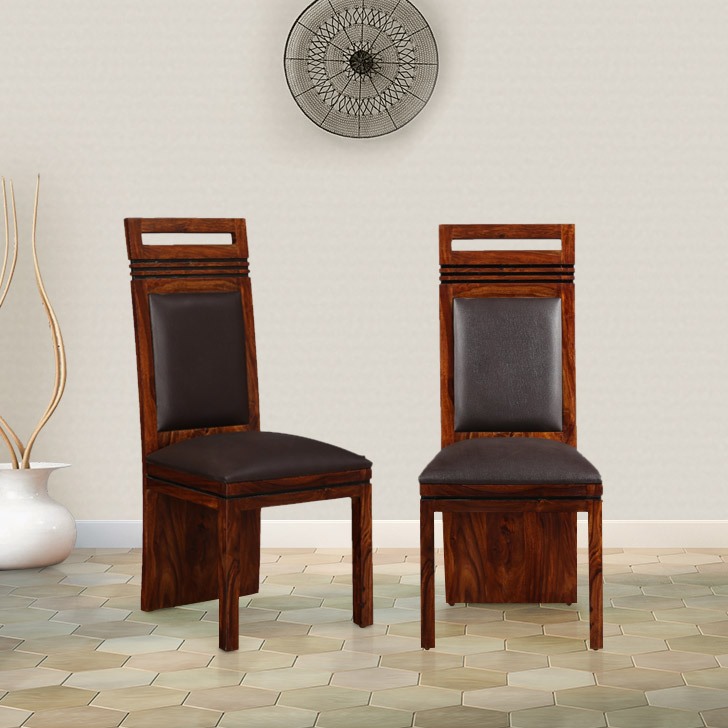 Leopold Solid Wood Dining Chair Set of Two in Light Brown Colour by HomeTown