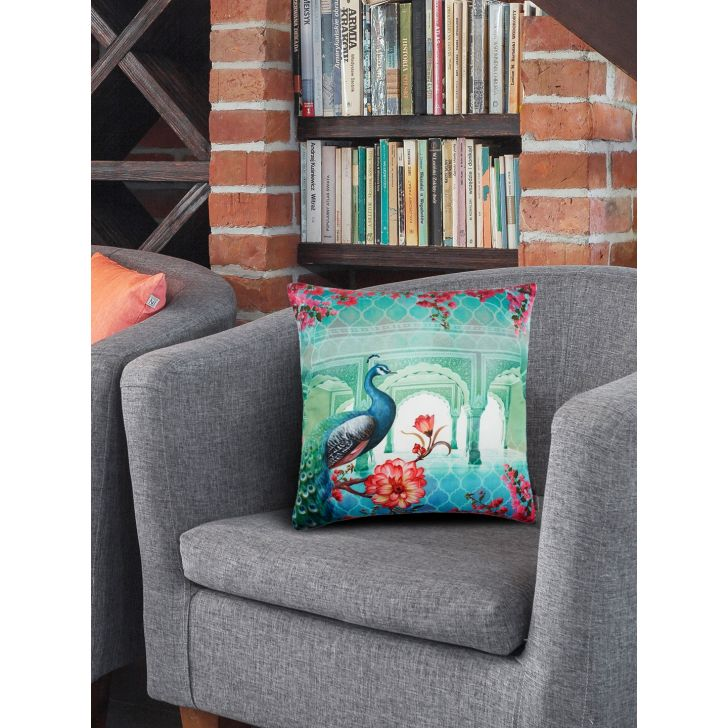 Fiesta Digital Polyester Filled Cushions in Blue Pink Colour by Living Essence