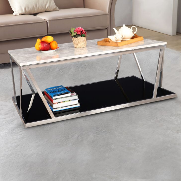 Gerald Stainless steel Marble Top Center Table in Black & Grey Colour by HomeTown