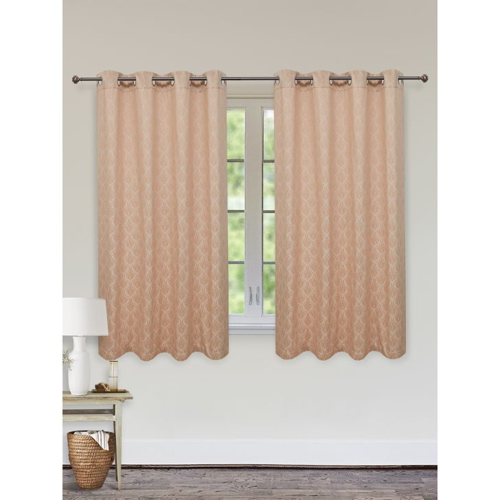 Fiesta Jacquard Set of 2 Cotton Window Curtains in Beige Colour by Living Essence