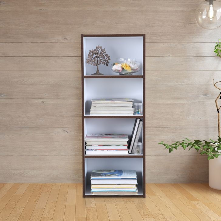 Mezzola Engineered Wood 4 Tier Bookshelf in Multi Color Colour by HomeTown