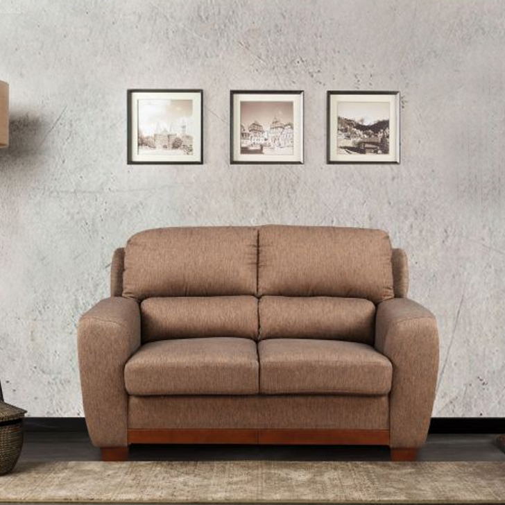 Brendon Fabric Two Seater sofa in Brown Colour by HomeTown