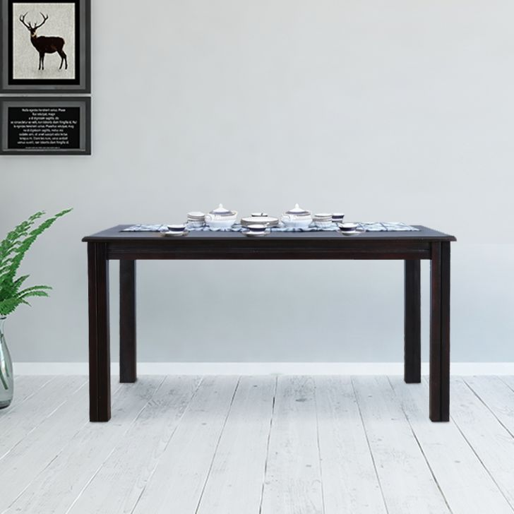 Hexa Solid Wood Six Seater Dining Table in Walnut Colour by HomeTown