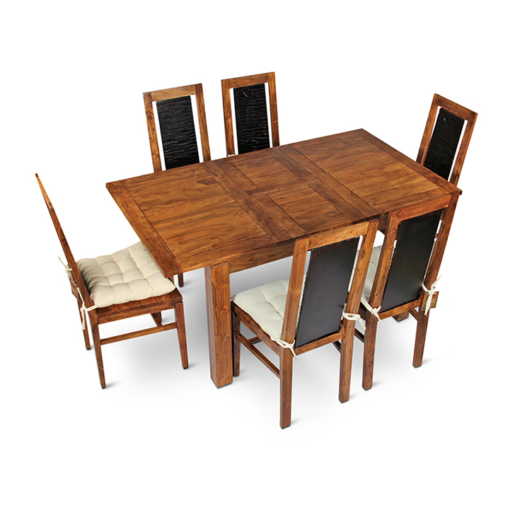 Leopold Acacia Wood Six Seater Dining Table in Walnut  + Black Colour by HomeTown
