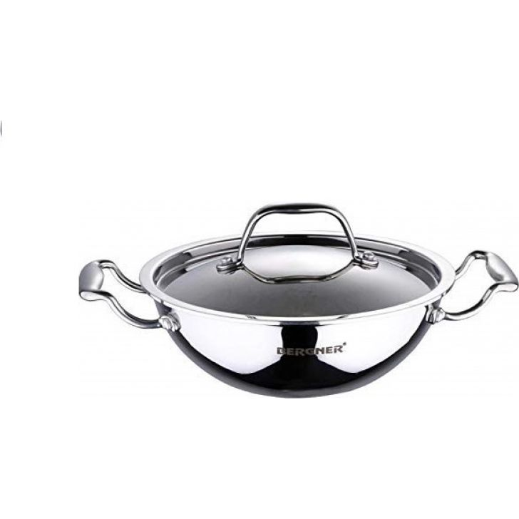 Kadhai With Lid 24 cm 2.5 L Stainless steel Steel Cooking Vessels in Silver Colour by Bergner