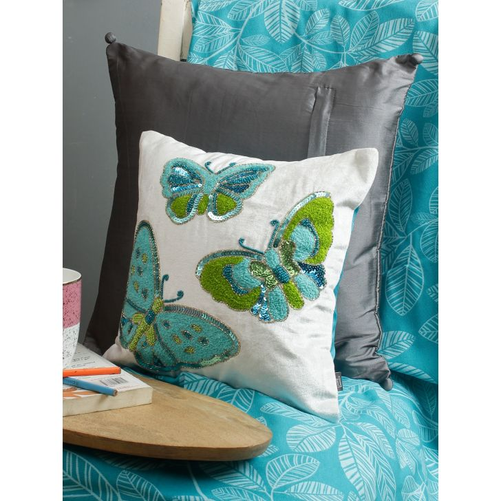 Bahamas  Cushion Cover 12X12 CM in Green Multi Colour by Living Essence
