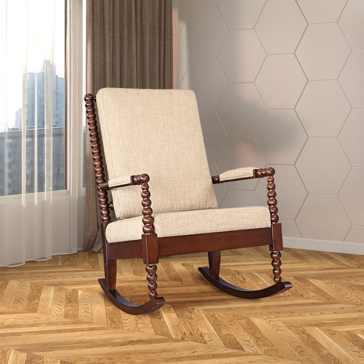Pauline Solid Wood Rocking Chair in Walnut Colour by HomeTown