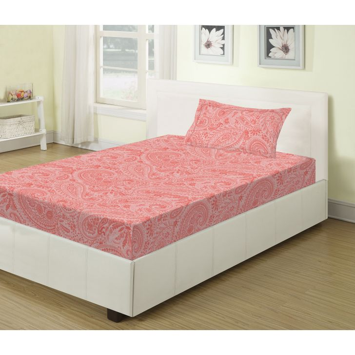 Emilia Cotton Single Bed Sheets in Rose Colour by Living Essence