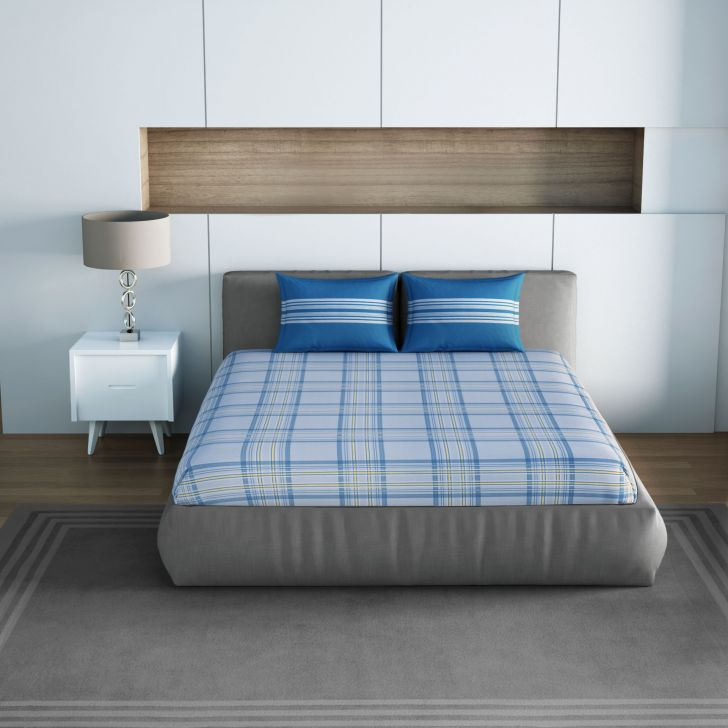 Spaces Allure Blue Yellow 1N Double Bed Sheet