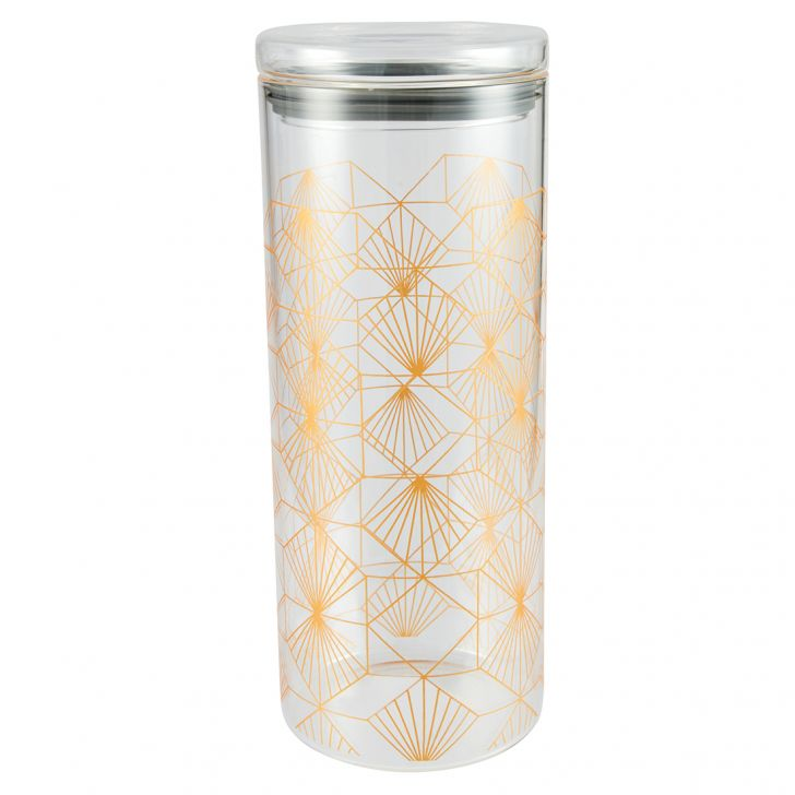 Borosilicate Canister 1700 Ml Glass Canisters & Jars in Transparent Colour by Living Essence