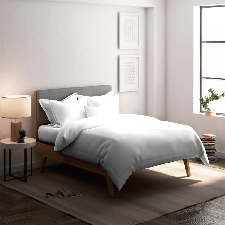 Solid Cotton Double Bedsheet in White Colour by Dreamline