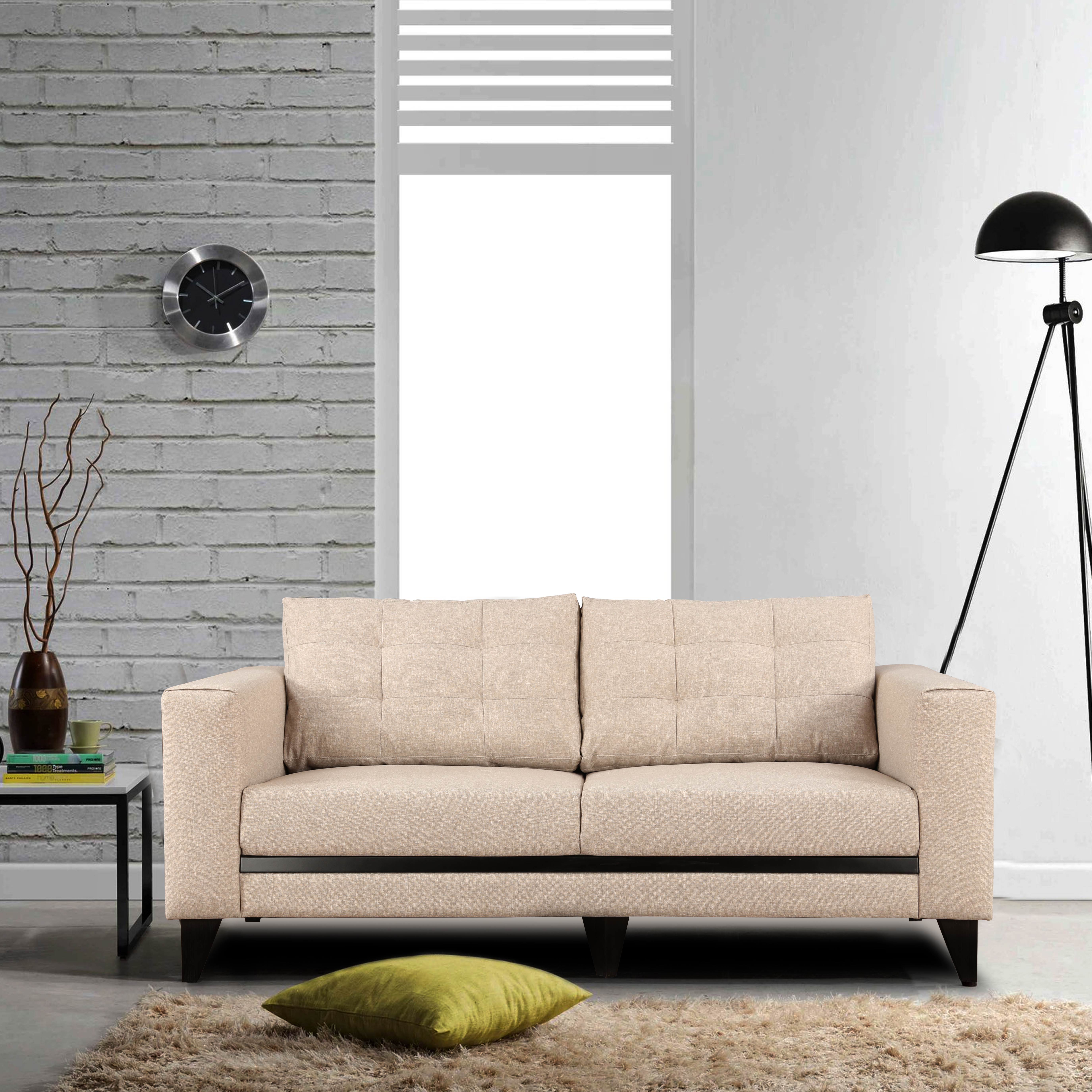 Garcia Fabric Three Seater sofa in Beige Colour by HomeTown