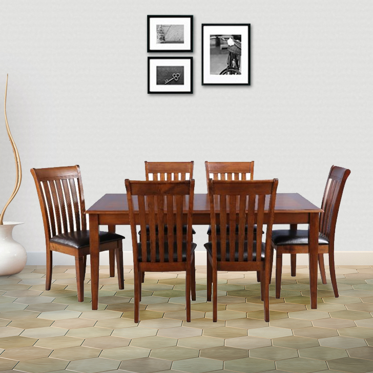 Loretto Solid Wood Six Seater Dining Set in Walnut Colour by HomeTown