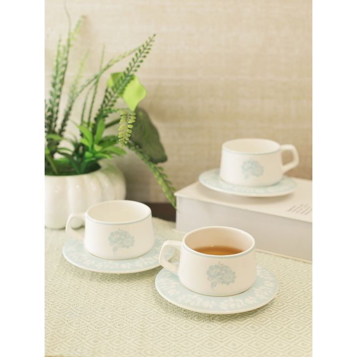 Laura Ashley Ceramic Cup & Saucer Set of 4 in Multicolor Colour by Laura Ashley