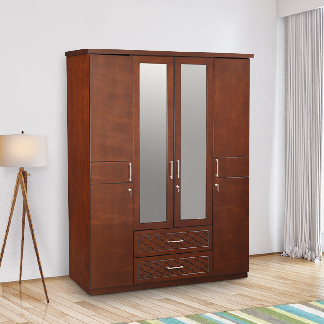 Buy Victoria Solid Wood Four Door Wardrobe In Antique