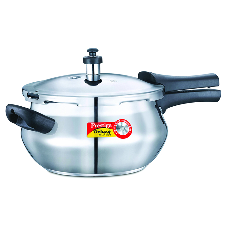 Prestige Deluxe Alpha Stainless Steel Junior Handi 4400 ml Stainless steel Cookers in Silver Colour by Prestige