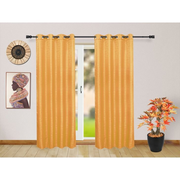 Set of 2 Polyester Door Curtains in Mustard Colour by Living Essence