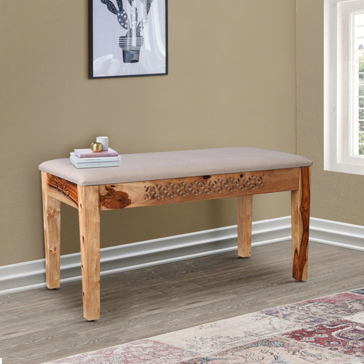 Floris Solidwood Four Seater Square Dining Bench in Teak Colour by HomeTown