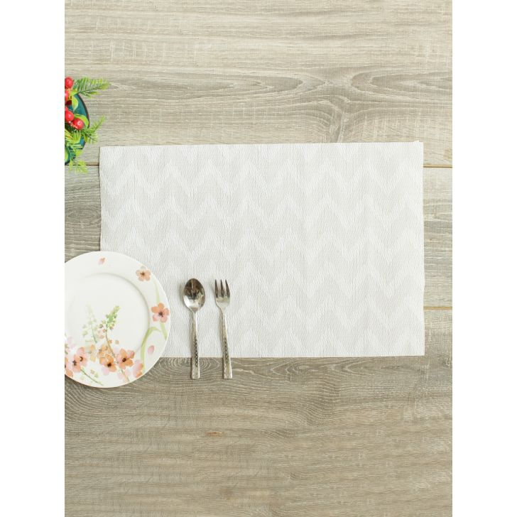Placemat Pvc Table Mats in White Colour by Living Essence