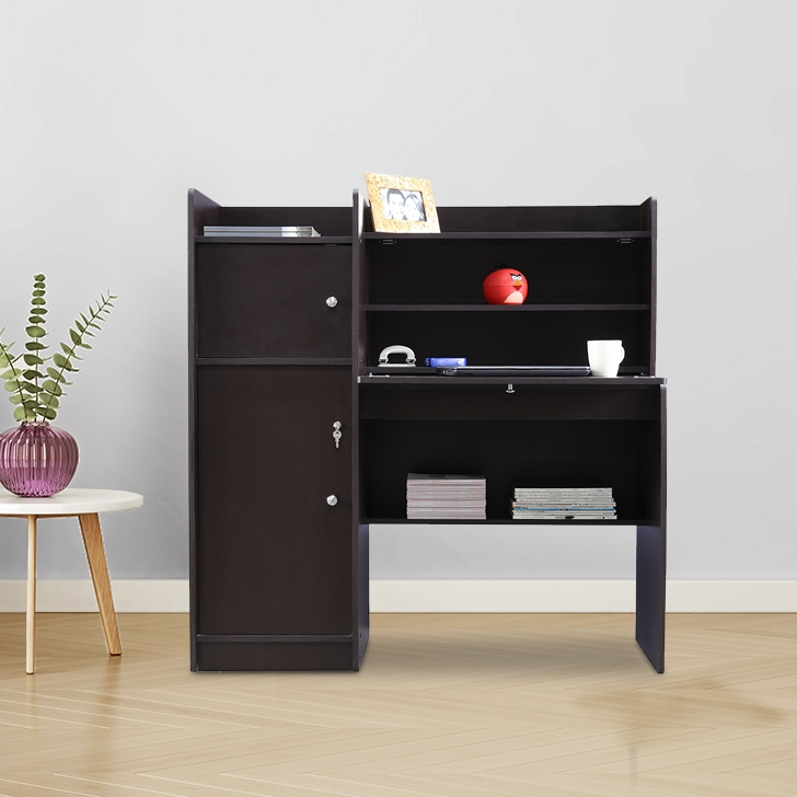 Venus Engineered Wood Study Table with 2 Cabinet in Wenge Colour by HomeTown
