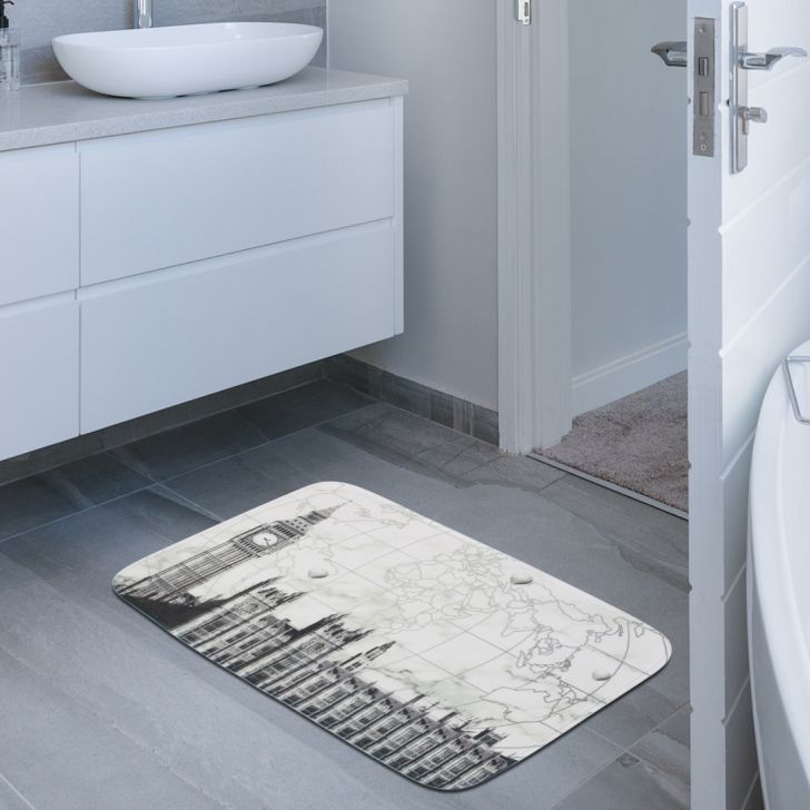 Fiesta Set of 2 Polyester Bath Mats in Grey Colour by Living Essence