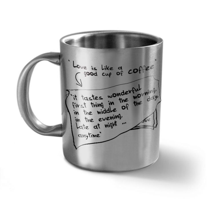 Hot Muggs Love is a cup of coffee Stainless steel Coffee Mugs in Silver Colour by HotMuggs