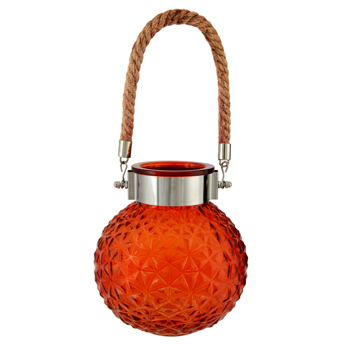 Marvela Colored Glass Vase With Rope Glass Candle Holders in Rust Colour by Living Essence