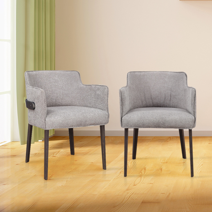 Kristal Solid Wood Dining Chair Set of Two in Grey Colour by HomeTown