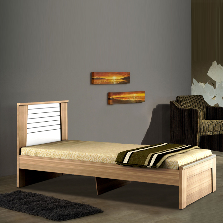 Ambra Engineered Wood Single Bed in White Colour by HomeTown