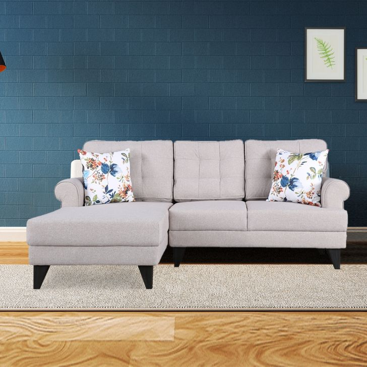 Paddington Fabric Right Hand Side Lounger in Beige Colour by HomeTown