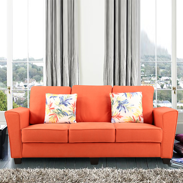 Rogers Fabric Three Seater sofa in Rust Colour by HomeTown