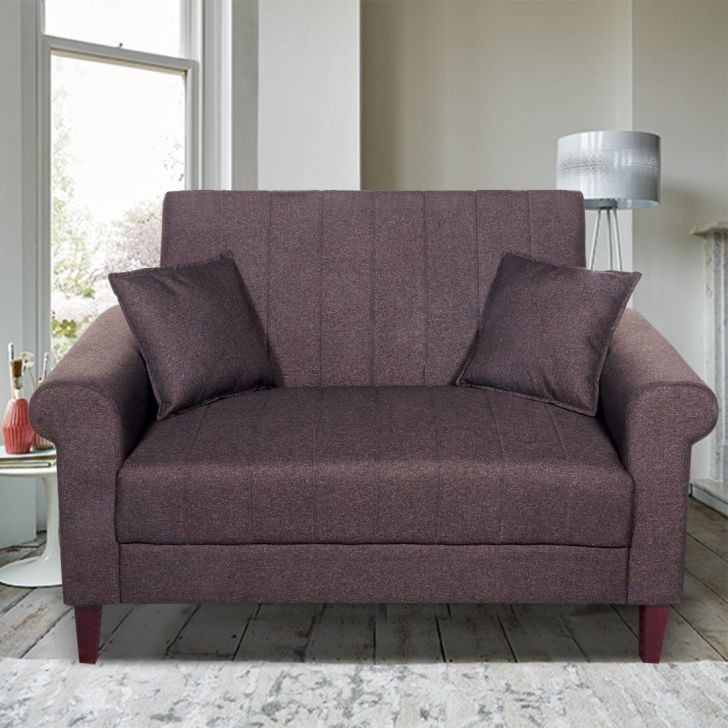 Genesis Solid Wood Two Seater Sofa in Brown Colour by HomeTown