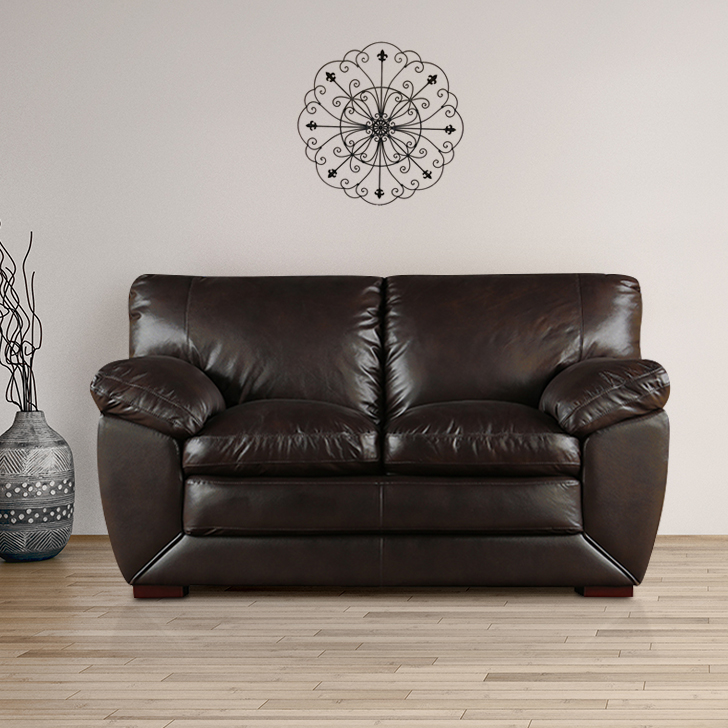 Lincoln Half Leather Two Seater Sofa in Dark Brown Colour by HomeTown