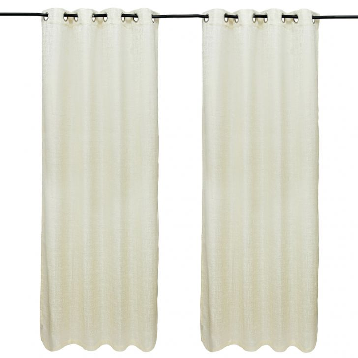Nora Solid set of 2 Polyester Door Curtains in White Colour by Living Essence