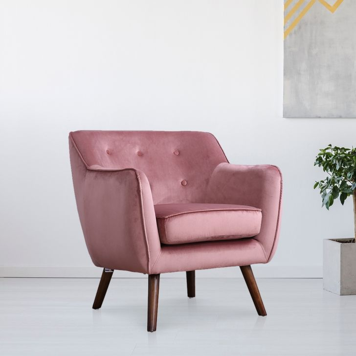 Darcy Solid Wood Arm Chair in Peach Colour by HomeTown