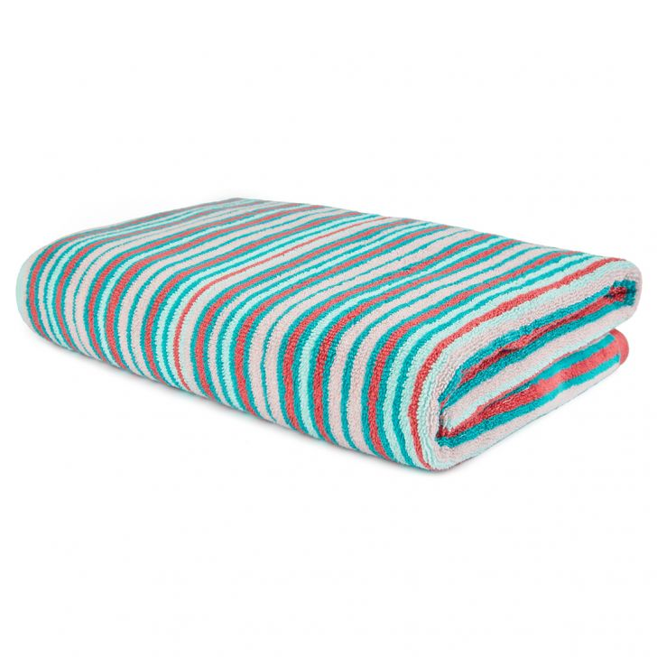 Bath Towel Nora Stripe Garden Cotton Bath Towels in Multicolour Colour by Living Essence