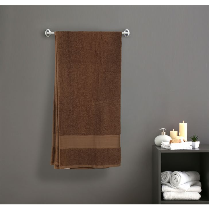 Premium Solid Cotton Bath Towels in Brown Colour by Dreamline